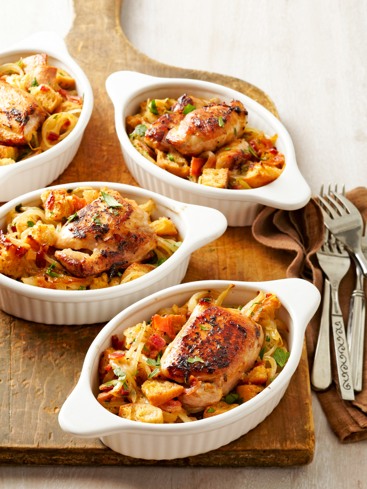 Chicken Thighs with Caramelized Onion and Bacon Dressing