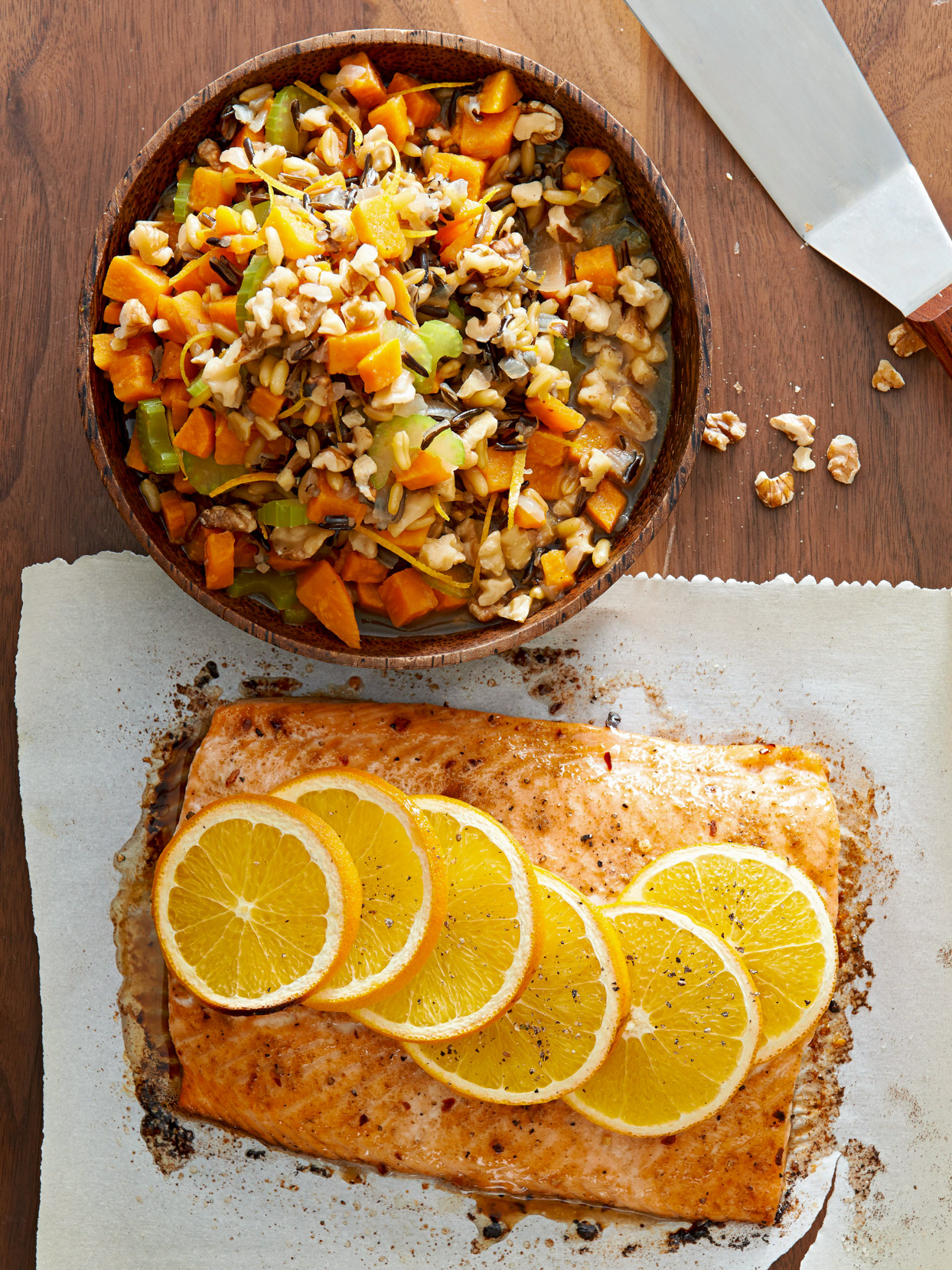 Warm Sweet Potato and Kamut Salad with Salmon and Walnuts