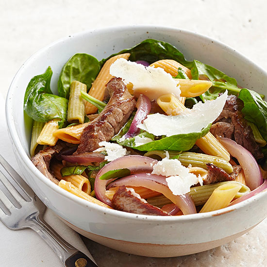Pasta with Garlicky Steak, Spinach, and Red Onions