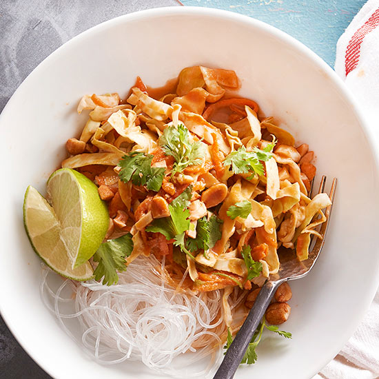 Gluten Free Cabbage and Carrot Salad with Peanut Sauce