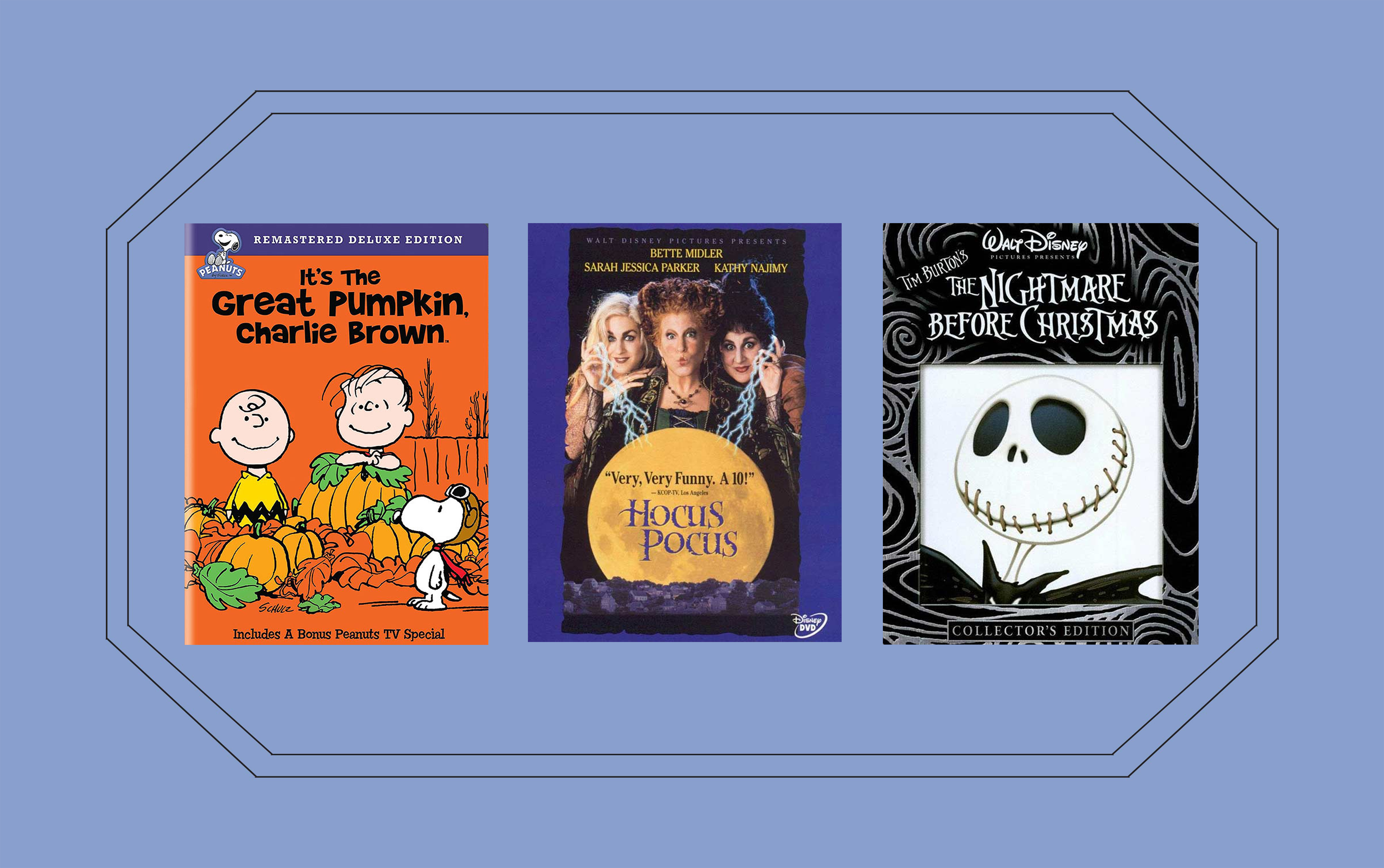 Movie covers of three Halloween movies on a blue background
