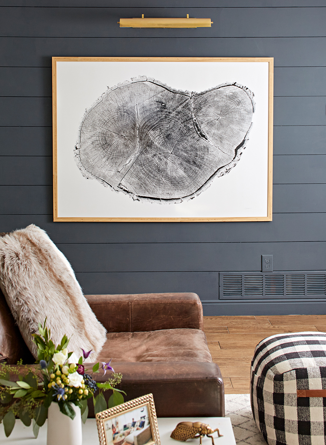 blue gray painted walls with large wall photo