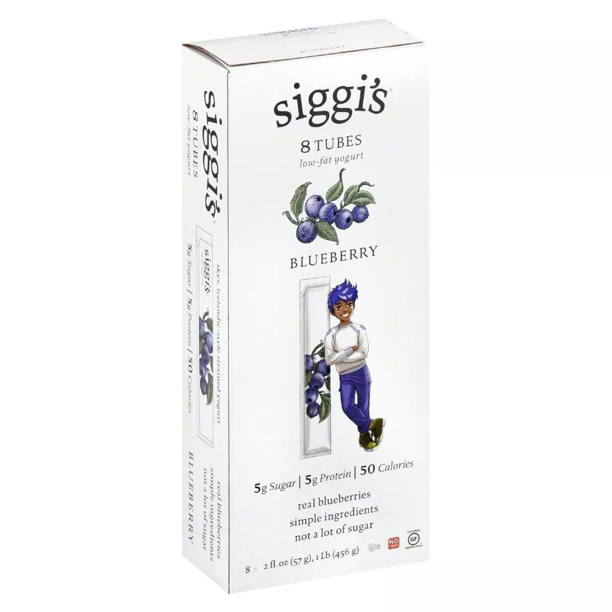Box of Siggi's Blueberry Yogurt Tubes on white background