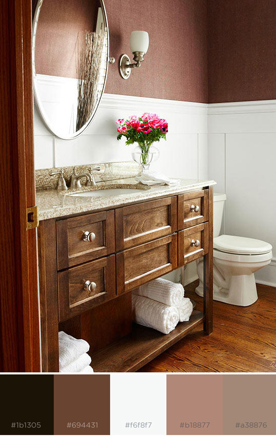 brown and white bathroom color scheme with color swatches