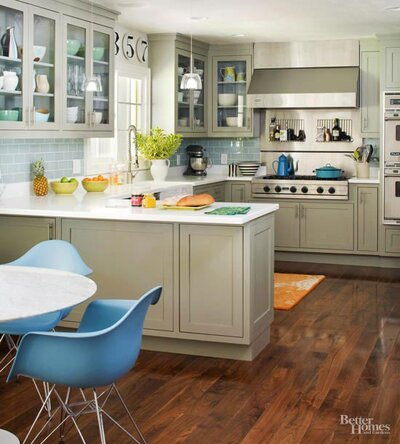 Gray Blue White Kitchen