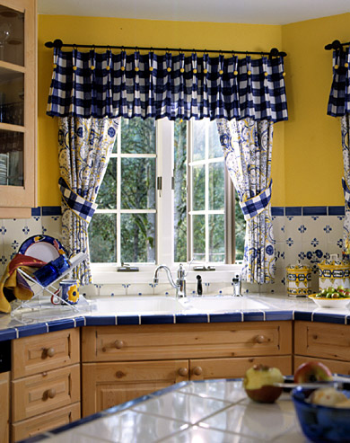 Blue and Yellow Kitchen: Detail of Sink and Window Treatment
