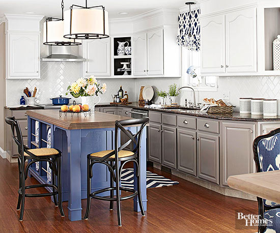 blue, gray and white kitchen