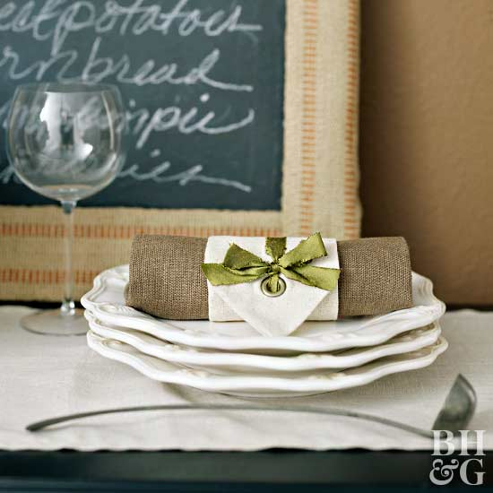 burlap and green ribbon accent