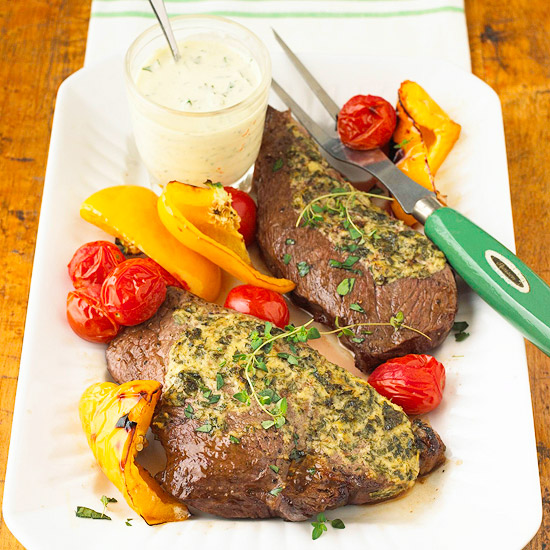 Herbed Steaks with Horseradish