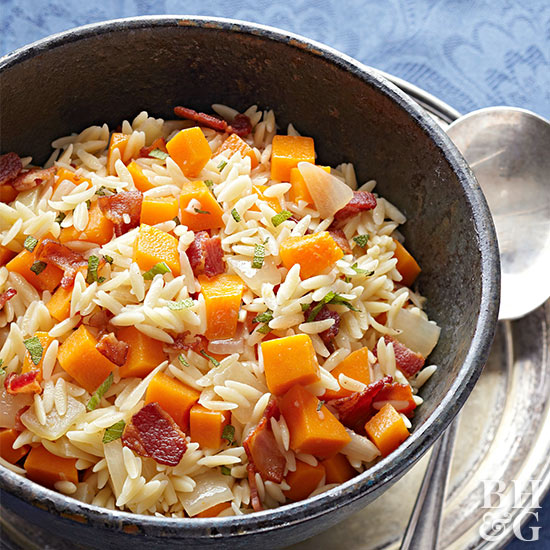 Orzo with Butternut Squash, Sage, and Bacon