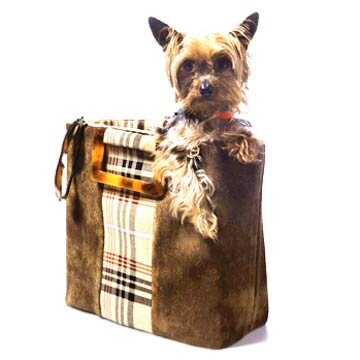 Brown Suede with Plaid Stripe Tote | Better Homes & Gardens