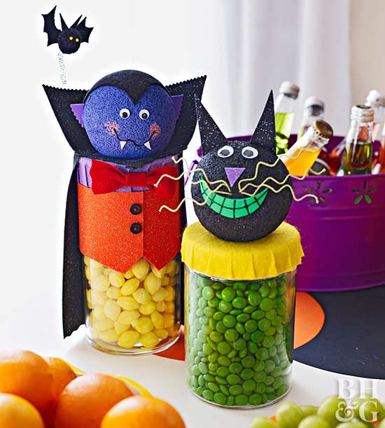 Friendly Dracula and Cat Candy Dispensers