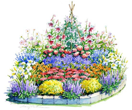 Sunny Summer Garden Illustration