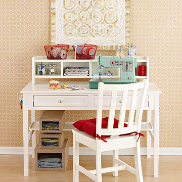 White desk, white chair with antique Singer sewing machine
