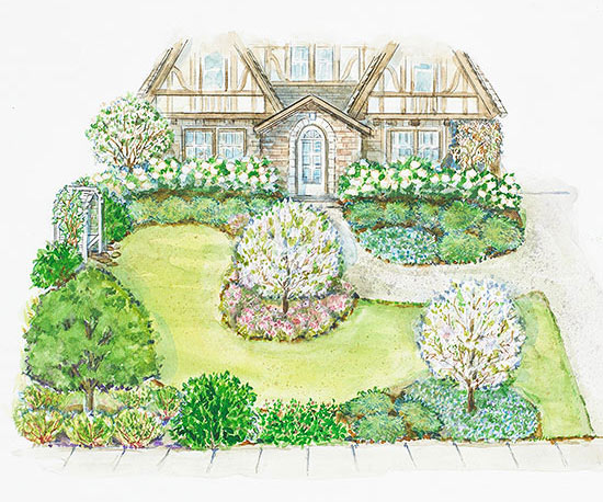 A Small Front Yard Landscape Plan Better Homes Gardens