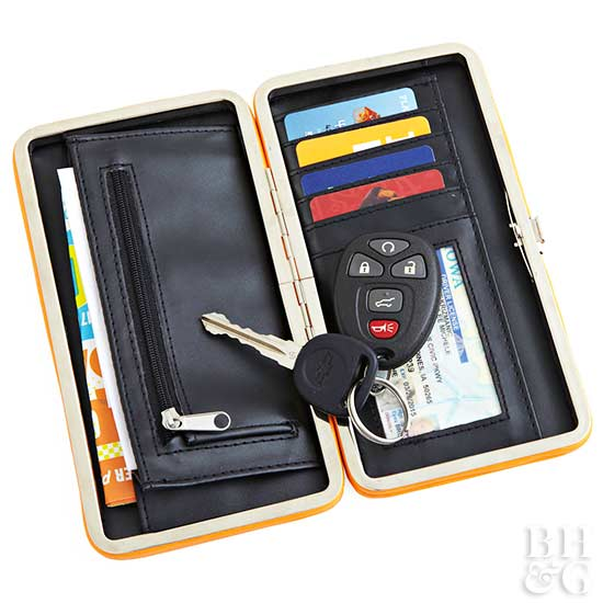 wallet with keys, credit cards, money, wallet