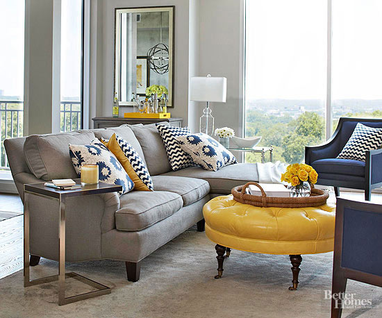 blue yellow and grey living room
