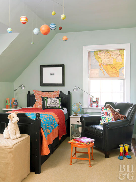 Boy's bedroom with planets