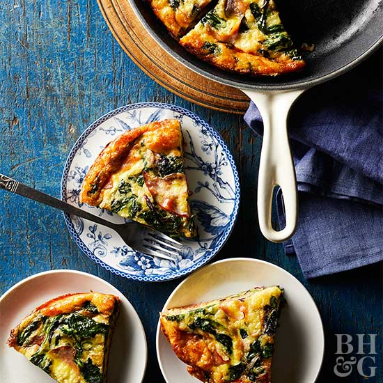Greens, Eggs, and Ham Frittata