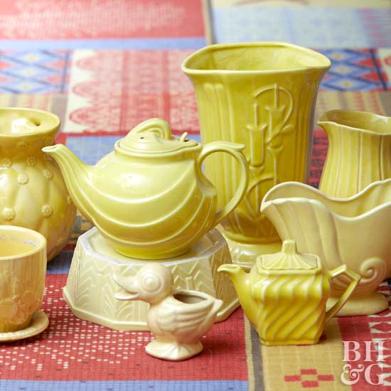 vintage yellow dishes