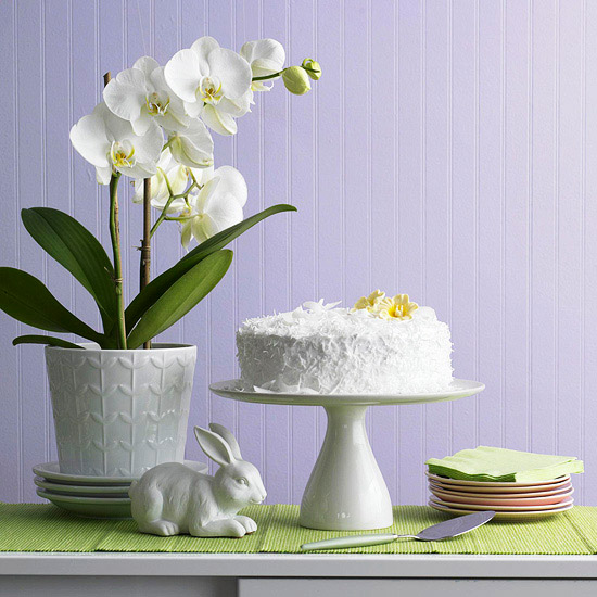 White Easter cake display, purple background