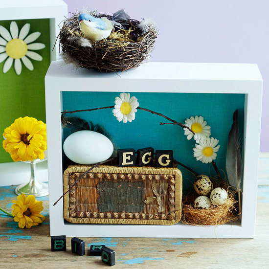 2 shadow boxes, bird nest on top