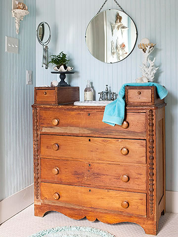 Dresser turned vanity and sink