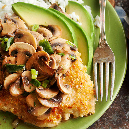 Pounded Almond Chicken with Mushroom-Tequila Sauce