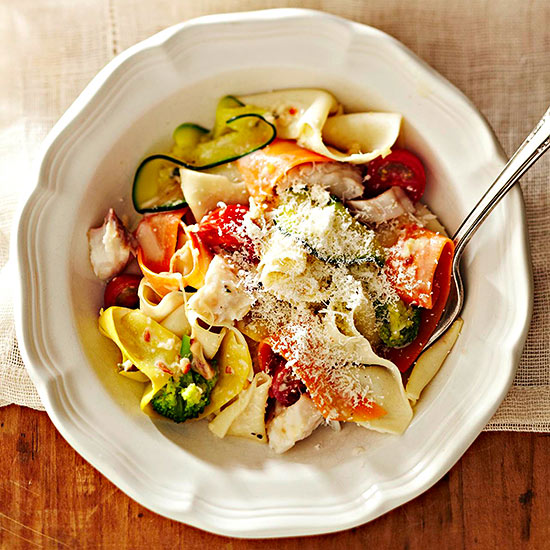 Vegetable Ribbon Pappardelle with Tilapia