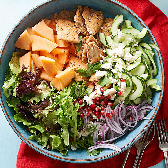 Melon and Herb Bread Salad