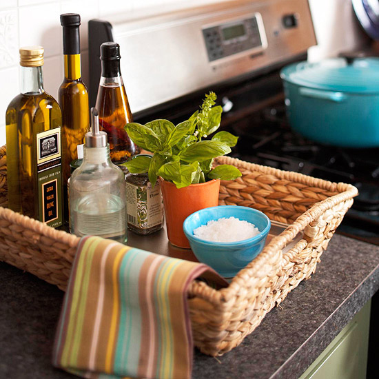 Woven tray in kitchen
