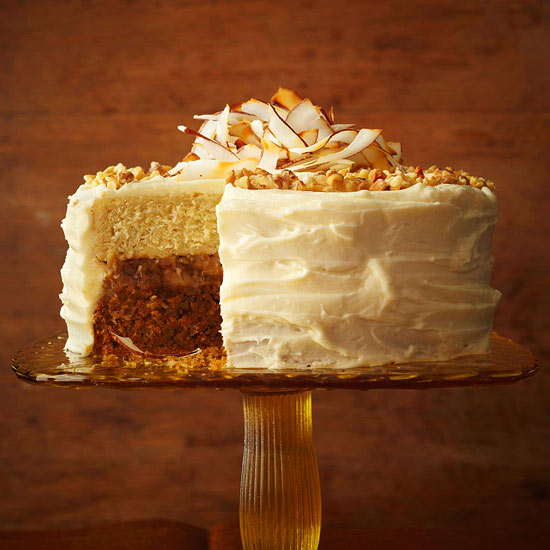Carrot-Coconut Cake with Raisin-Rum Filling