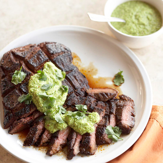 Espresso-Rubbed Steak with Green Chili Pesto