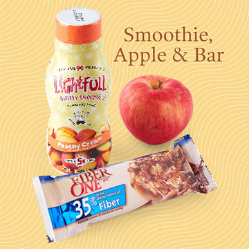 Quick Healthy Breakfast Idea: Bar, Smoothie, and Apple