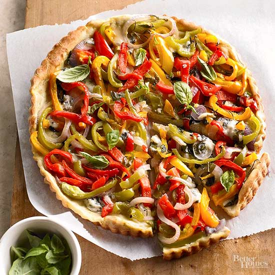 Mixed Peppers in a Gougere Crust