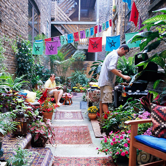 Colorful apartment courtyard