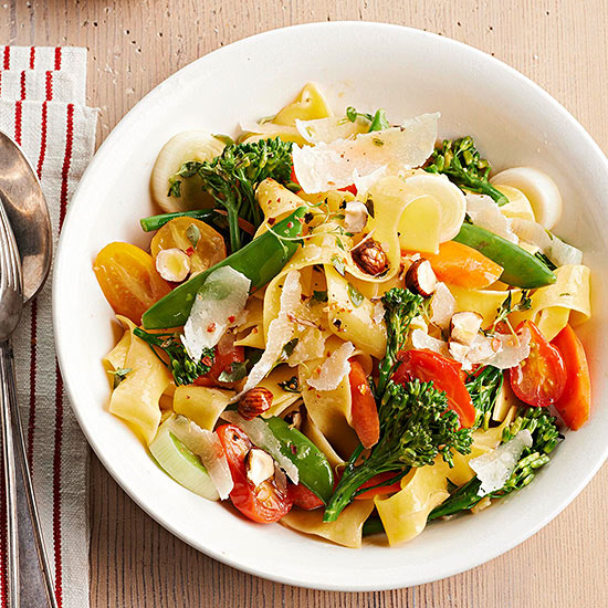 Pappardelle Primavera with Spring Vegetables and Hazelnuts