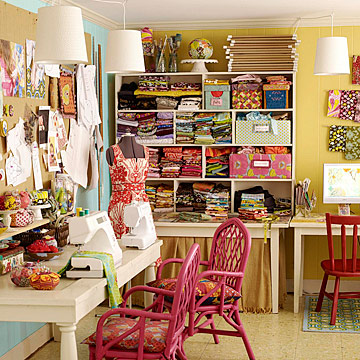 Craft room full of fabric