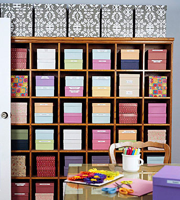 Crafts room storage wall