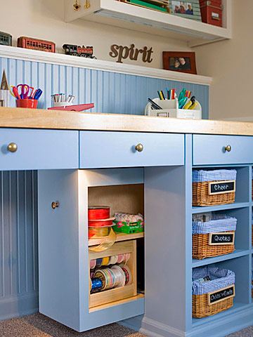 Crafts room desk storage area