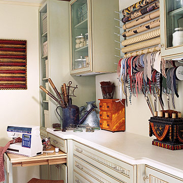 Crafts and sewing room cabinets