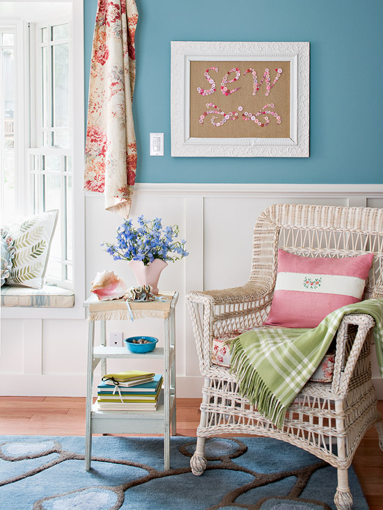 wicker chair and sew button artwork
