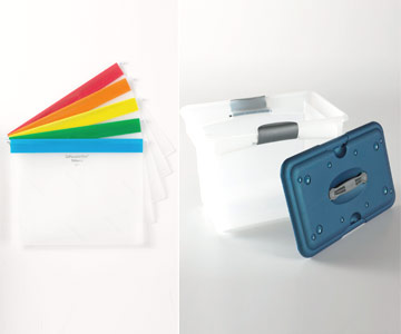Empty plastic files with different-color tops