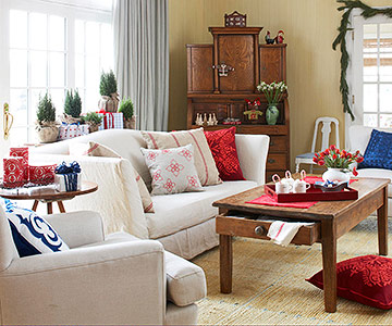 Living room with red floor pillow