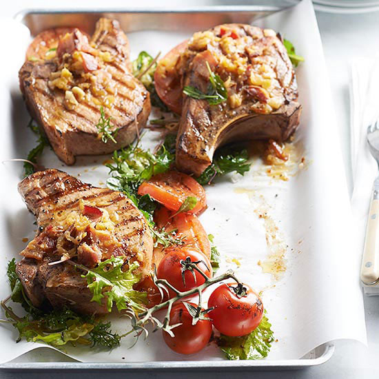 Grilled Pork Chops with Bacon and Kale