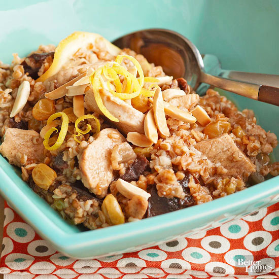 Dried Fruit, Chicken, and Bulgur Pilaf