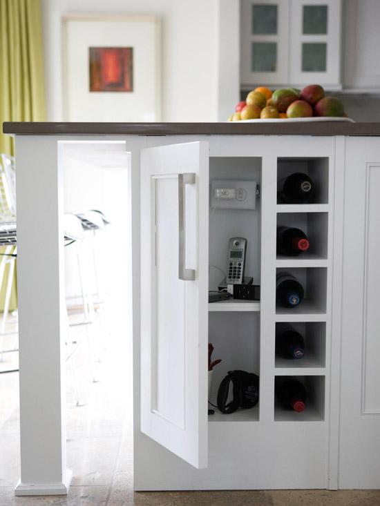 Kitchen island storage cubbies