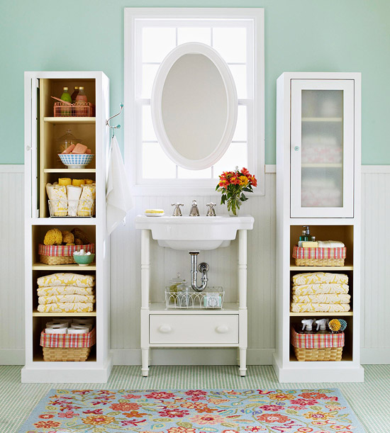 Bathroom with two storage cabinets