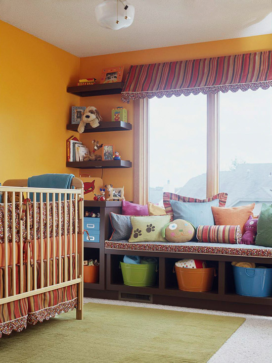 Kids room storage shelves and cubbies