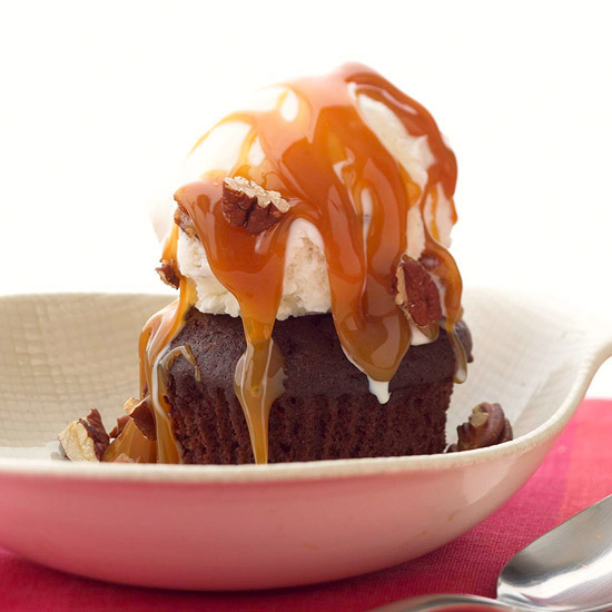 One easy topped cupcake with caramel sauce